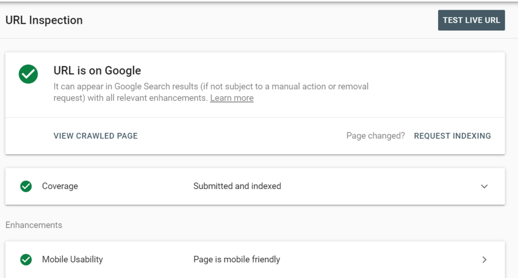 url inspetion search console google index