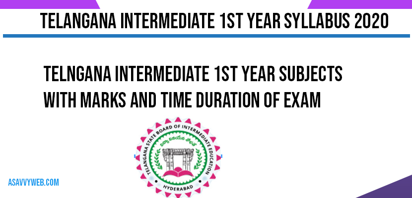Telngana intermediate 1st Year Subjects with Marks and Time Duration of Exam