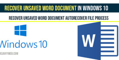 Recover Unsaved Word Document in windows 10