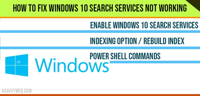 How to fix windows 10 search services not working