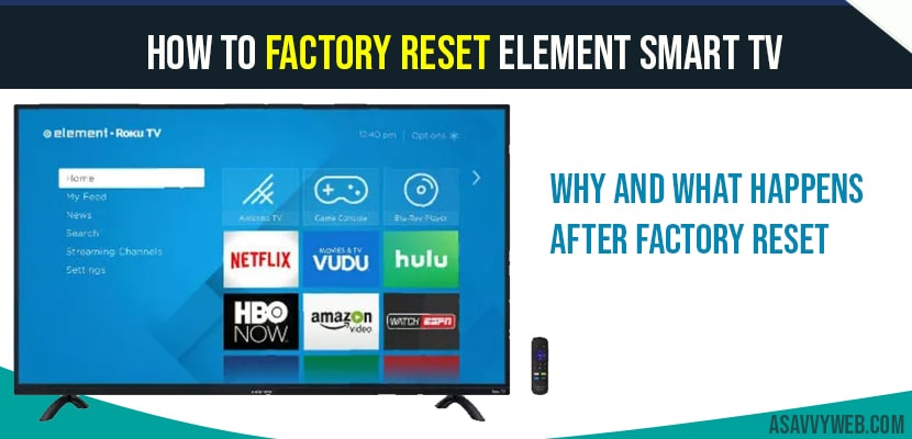 How To Factory Reset Element Smart Tv A Savvy Web
