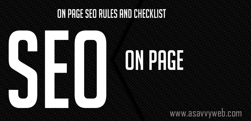 On Page SEO Rules