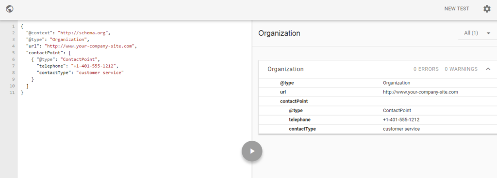 google structure data testing tool for organization example