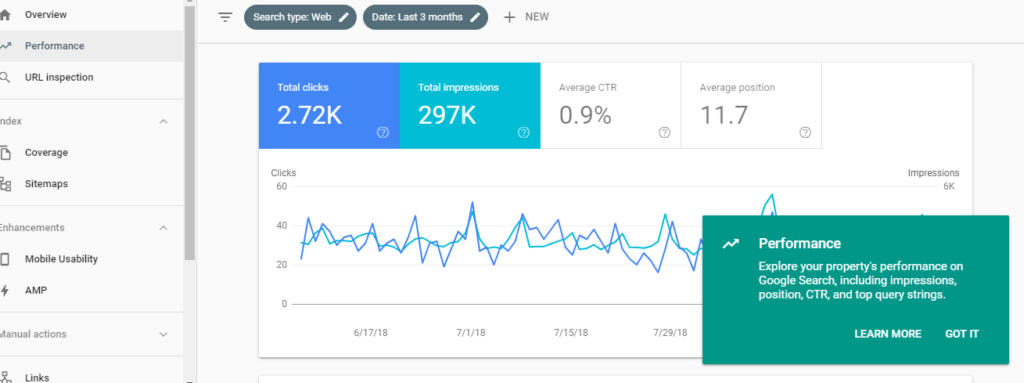 new google search console features performance report