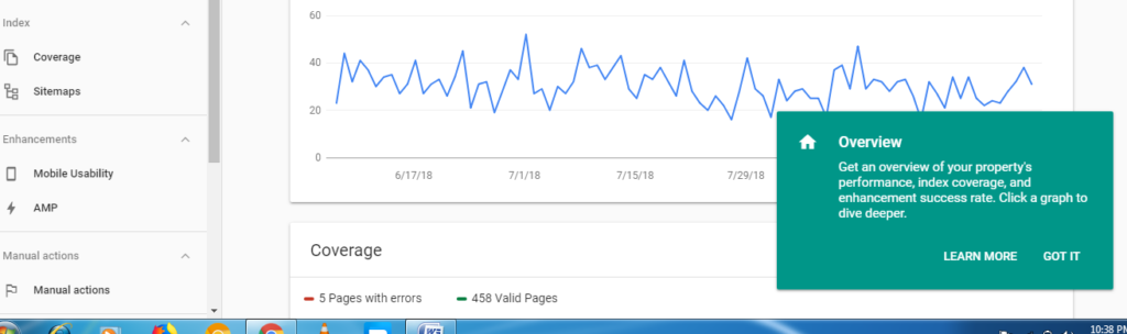 overview section of new google search console features