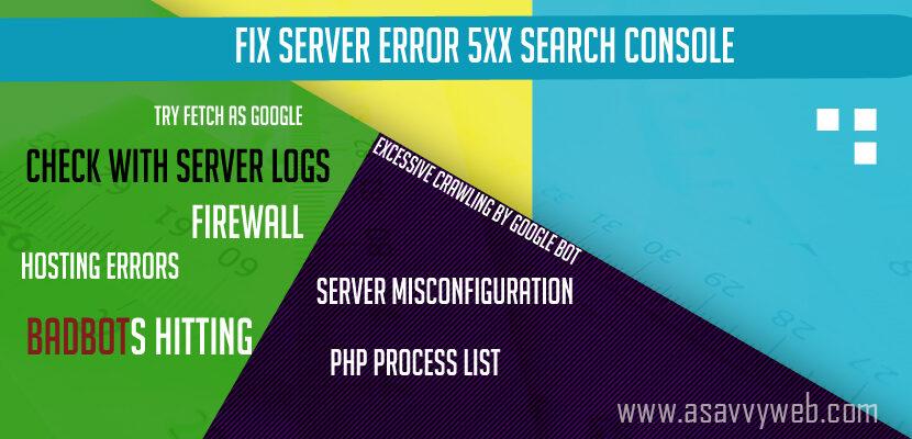 Fix Server Error 5xx Search Console