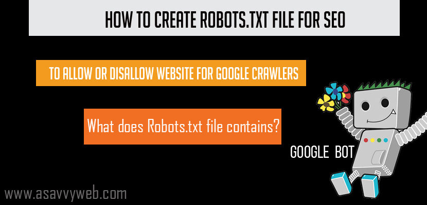 How to Create Robots.txt file for SEO To allow or disallow Website For Google Crawlers