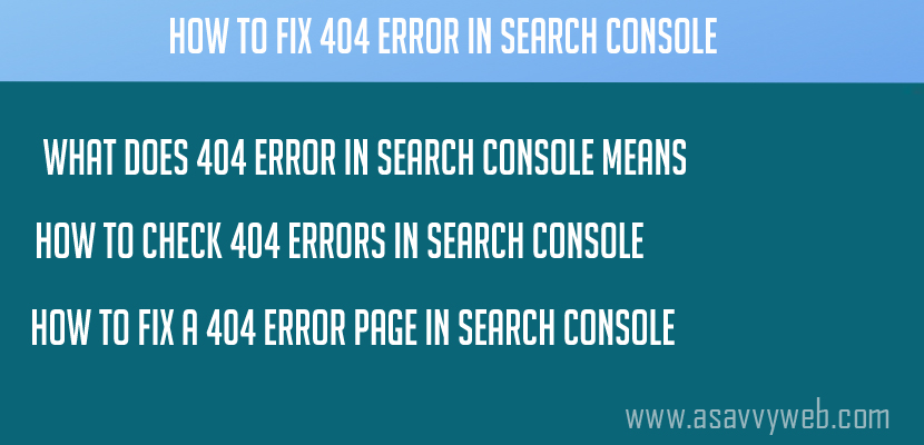 How to fix 404 Error In Search Console