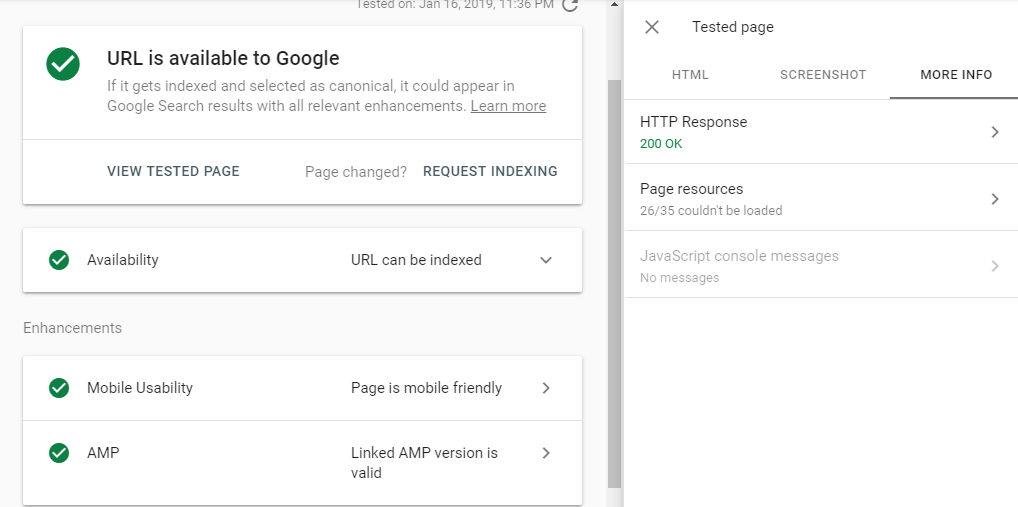 Url inspection tool in Google Search Console image http response