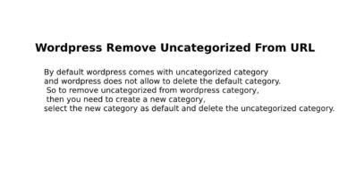Wordpress Remove Uncategorized From URL