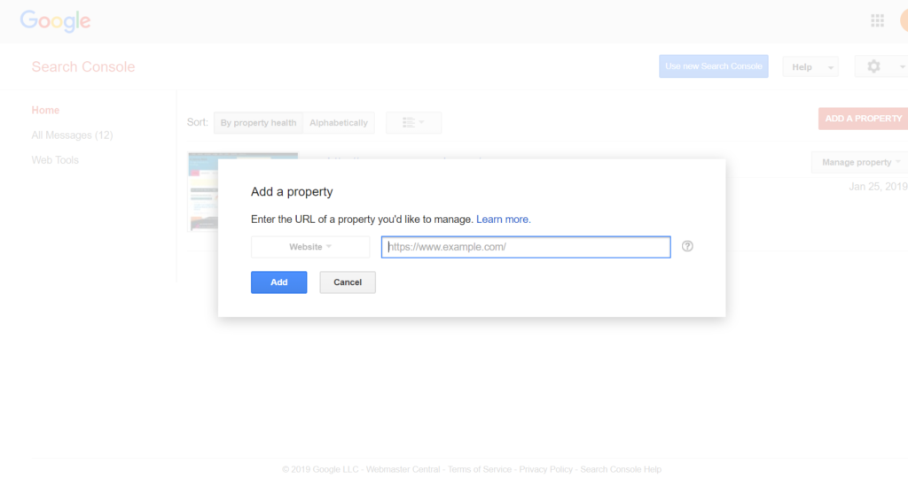 In add a property type your website url and Add