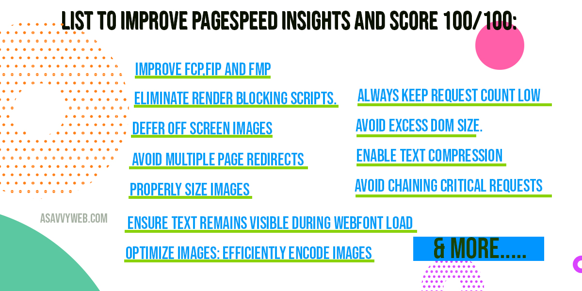 List to improve pageSpeed Insights and score