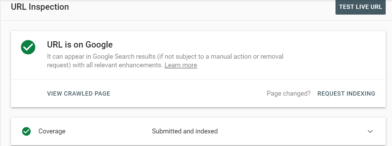 request indexing in search console