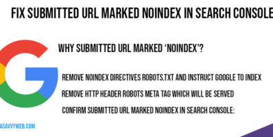 Fix Submitted URL Marked noindex in Search Console
