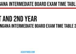 Telangana Intermediate Board Exam Time Table 2020