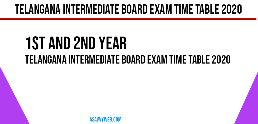 Telangana Intermediate Board Exam Time Table 2020