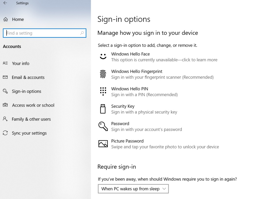 Change Your Password and different-Sign-in Options in Windows 10