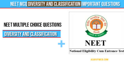 Neet MCQ Diversity and Classification important questions
