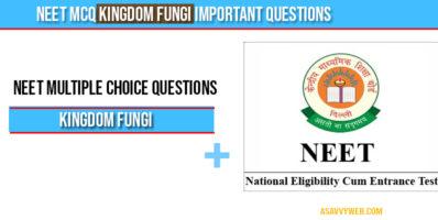 Neet MCQ Kingdom Fungi Important Questions