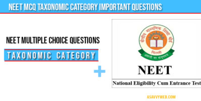 Neet MCQ Taxonomic Category important questions