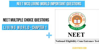 Neet MCQ living world important questions
