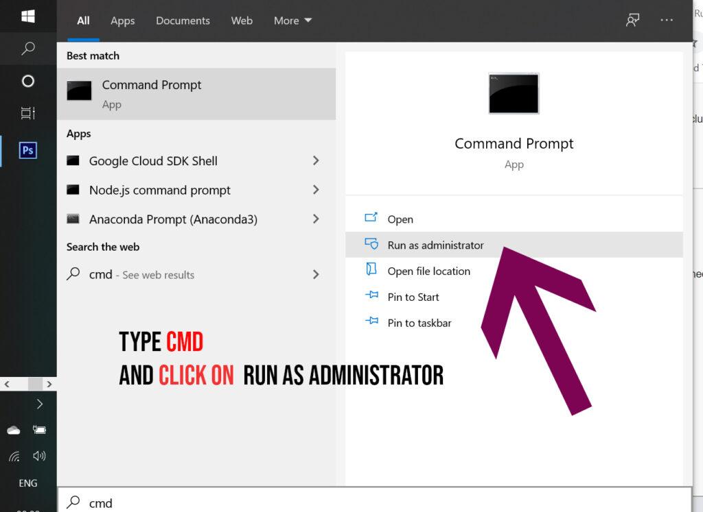 open cmd run as administrator