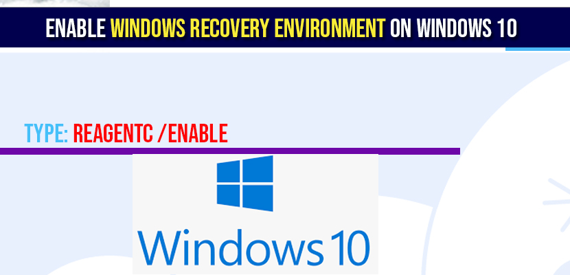 Enable Windows Recovery Environment on windows 10
