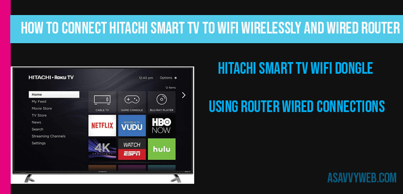 How to Connect Hitachi Smart tv to WIFI Wirelessly and Wired router