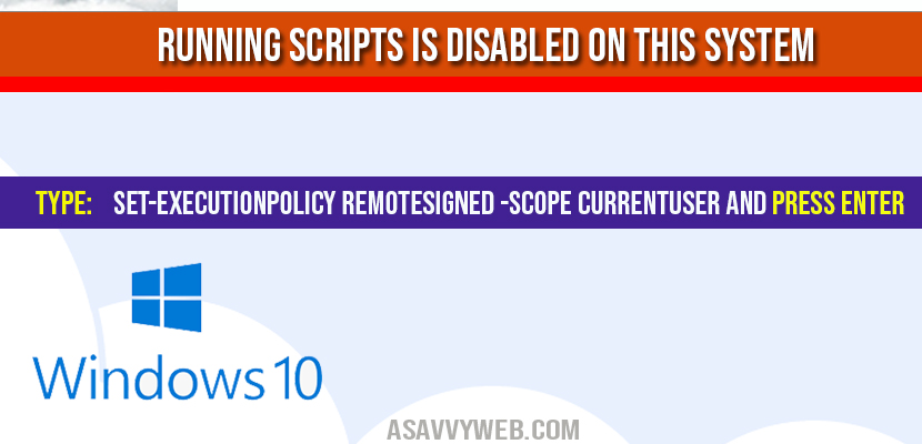 Running Scripts is Disabled on This System