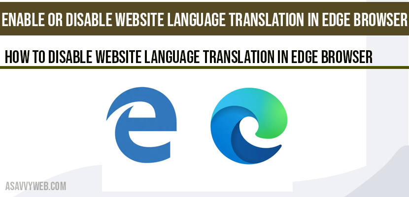 Enable or disable website language translation in Edge Browser