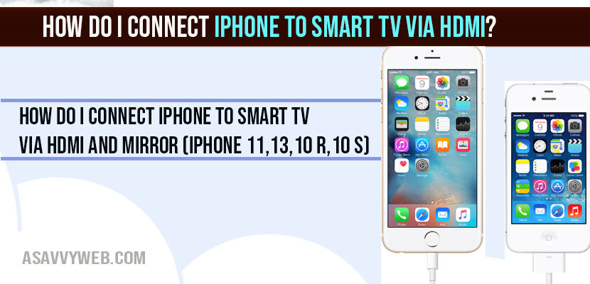How do I connect iPhone to smart TV via HDMI and Mirror (iPhone 11,13,10 R,10 S)