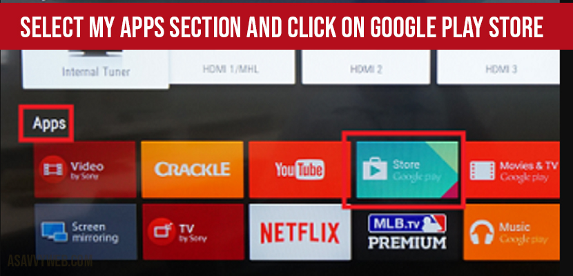 Update YouTube app on Sony Bravia Smart TV - Select my apps and select google playstore