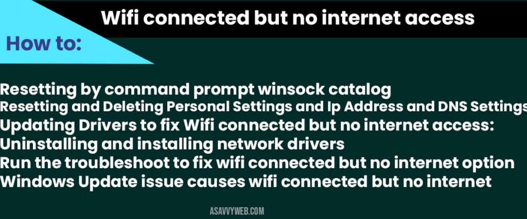 wifi connected but no internet access - restart router or modem