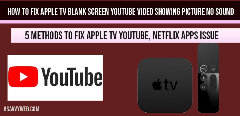 How to fix Apple tv Blank Screen YouTube video Showing picture no sound