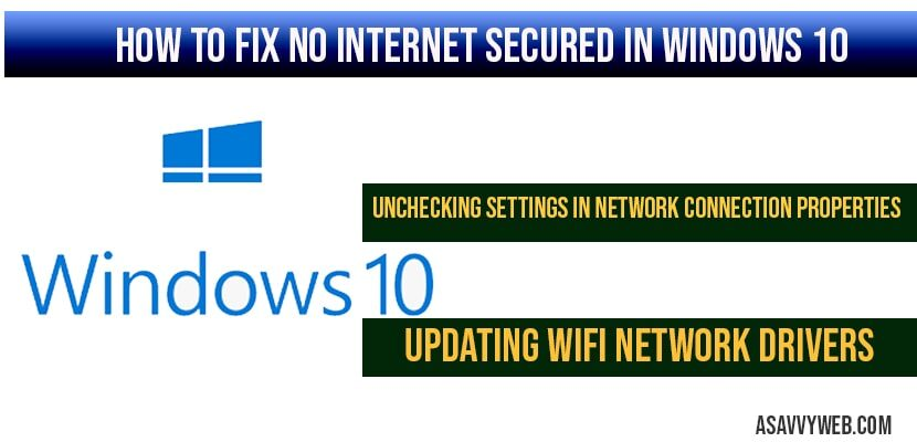 How to fix no internet secured in windows 10