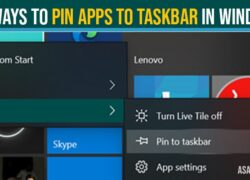 Pin apps to taskbar in windows 10