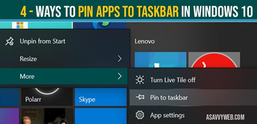 Pin apps to taskbar in windows 10