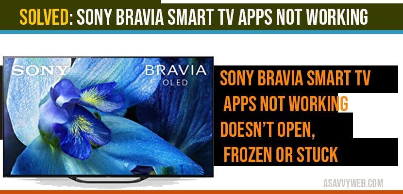 Sony bravia Smart tv Apps not working doesn't open, frozen or stuck