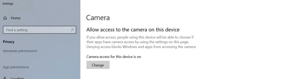 change-camera-allow-access-on-this-device-to-on