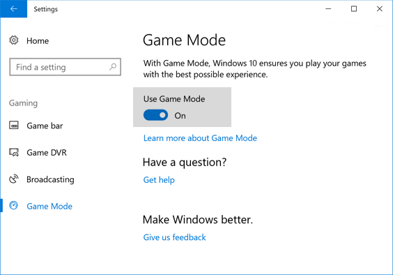 windows-10-gaming mode to optimize windows 10 for gaming