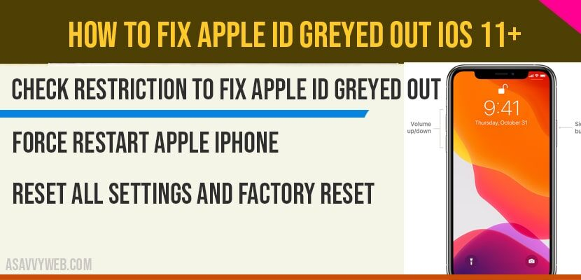 How to fix Apple ID Greyed out iOS 11