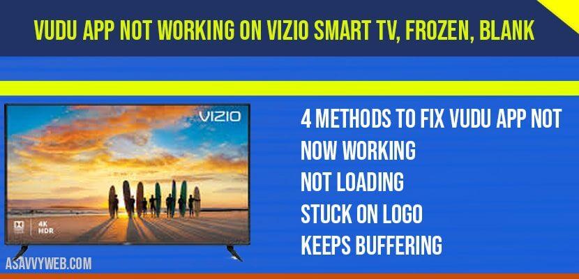 Vudu App Not Working on Vizio Smart TV, frozen, blank, loading, Not opening