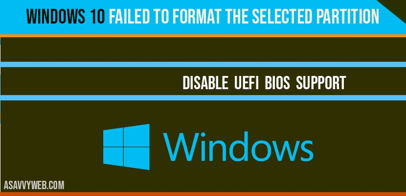 Windows 10 Partition Error Failed to format the selected partition