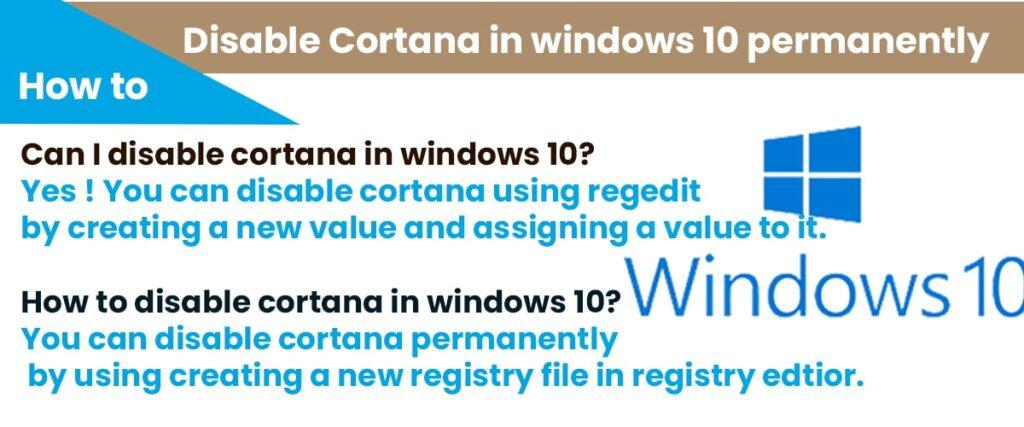 Disable cortona in windows 10