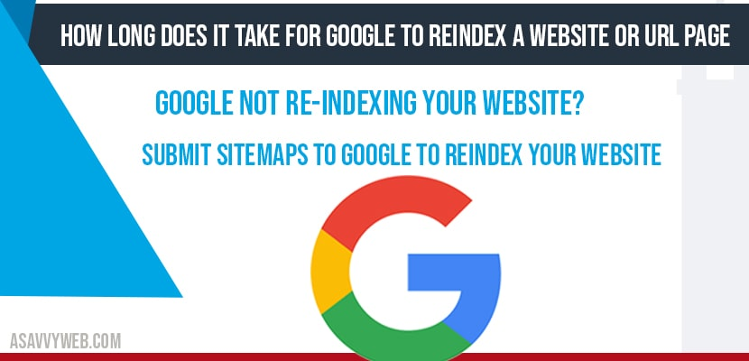 How long does it take for google to Reindex a website or url page
