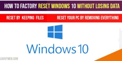 How to factory reset windows 10 without losing data