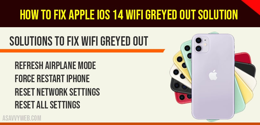 How to fix Apple iOS 14 WIFI greyed out Solution