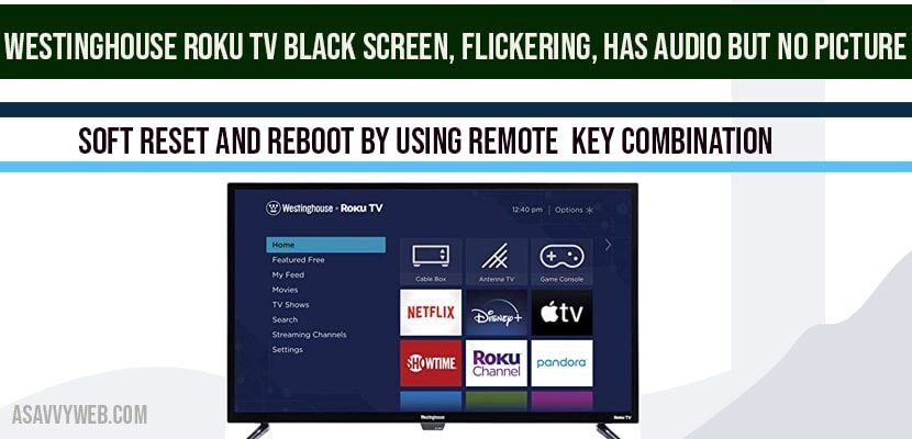 Westinghouse Roku tv Black screen, Flickering, Has Audio but no Picture