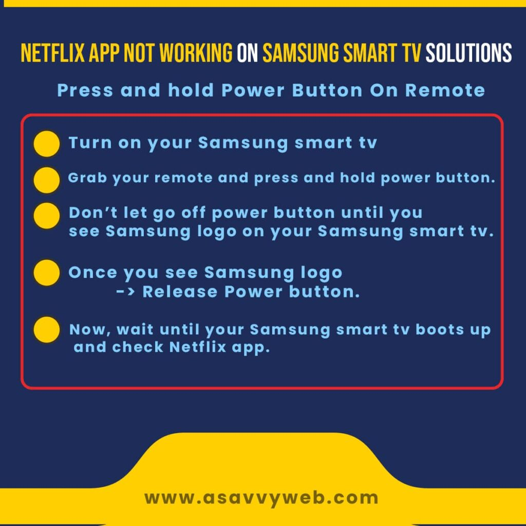 press and hold power button to fix netflix app not working on Samsung Smart tv