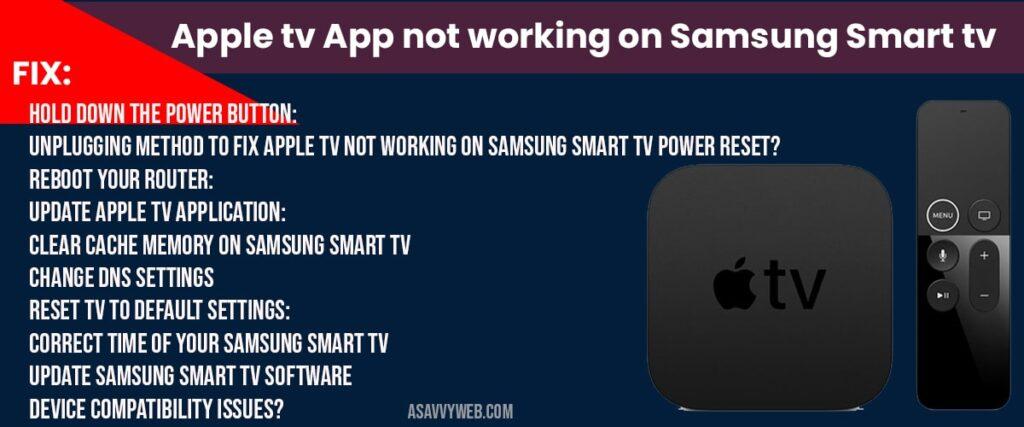 Apple tv app not working on samsung smart tv
